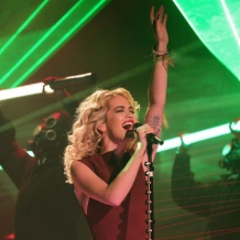 Rita Ora wears Monica Vinader Fiji bracelets with Cerise, Saffron and Black cords to her live performance on the Graham Norton Show.