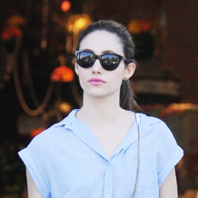 Emmy Rossum wears Monica Vinader Siren Stud Earrings and Vega Ring in Green Onyx out in LA. Shop the collections online for free delivery.