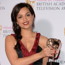 Actress Georgina Campbell wins Best Actress for Murdered By My Boyfriend at the 2015 BAFTA TV Awards wearing Monica Vinader Riva Diamond Cluster Drop Earrings and the Diva Diamond Cocktail Ring in Rose Gold. Shop the collections online for free delivery.