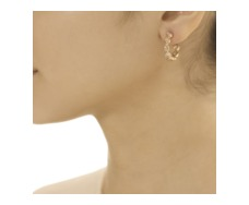 Rose Gold Vermeil Siren Gem Hoop Earring Small - Rock Crystal - Monica Vinader