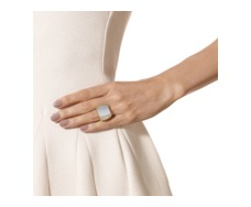 Gold Vermeil Baja Square Ring - Grey Agate - Monica Vinader