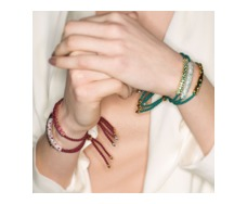 Rose Gold Vermeil Esencia Friendship Bracelet - Ruby - Monica Vinader