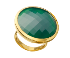GP Round Facet Ring - Green Onyx - Monica Vinader