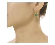 Gold Vermeil Siren Wire Earrings - Green Onyx - Monica Vinader