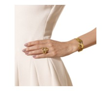 Gold Vermeil Riva Diamond And Lemon Quartz Cuff - Monica Vinader
