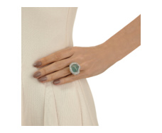 Esencia Large Cocktail Ring in Diamond and Emerald - Monica Vinader