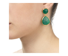 Gold Vermeil Siren Cocktail Earrings - Green Onyx - Monica Vinader