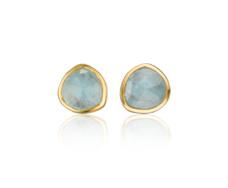 Gold Vermeil Siren Stud Earring - Aquamarine - Monica Vinader
