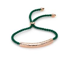 Rose Gold Vermeil Esencia Friendship Bracelet - Chrome Diopside - Racing Green - Monica Vinader