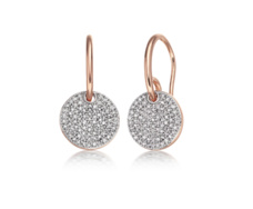 Rose Gold Vermeil Ava Pave Disc Earrings - Monica Vinader