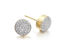 Gold Vermeil Pave Stud Earrings - Diamond - Monica Vinader