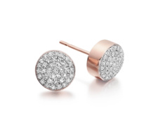 Rose Gold Vermeil Pave Stud Earrings - Diamond - Monica Vinader