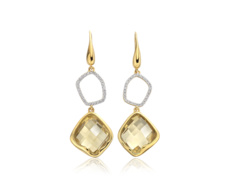 Gold Vermeil Riva Diamond & Lemon Quartz Cocktail Earrings - Monica Vinader