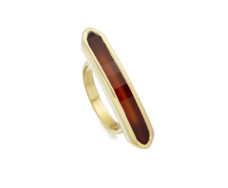 Gold Vermeil Baja Long Ring - Red Onyx - Monica Vinader