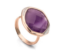 Rose Gold Vermeil Riva Diamond And Amethyst Cocktail Ring - Monica Vinader