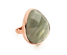 Rose Gold Vermeil Siren Cocktail Ring - Labradorite - Monica Vinader