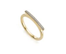 Gold Vermeil Skinny Bar Ring - Diamond - Monica Vinader