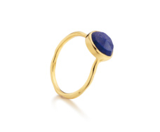 Gold Vermeil Siren Stacking Ring - Lapis - Monica Vinader