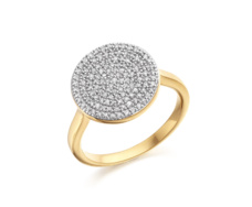 Gold Vermeil Ava Diamond Disc Pave Ring - Monica Vinader