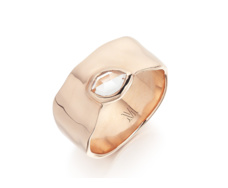 Rose Gold Vermeil Siren Wide Band Ring - White Topaz - Monica Vinader