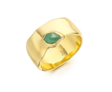 Gold Vermeil Siren Wide Band Ring - Chrysoprase - Monica Vinader
