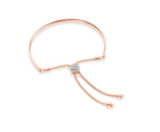 Rose Gold Vermeil Fiji Diamond Chain Friendship Bracelet - Monica Vinader