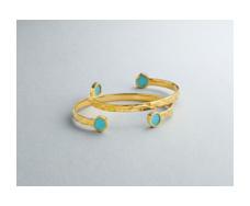 Gold Vermeil Atlantis Thin Cuff - Turquoise - Monica Vinader