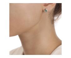 Rose Gold Vermeil Baja Precious Stud Earrings - Emerald & Diamond - Monica Vinader