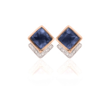 Rose Gold Vermeil Baja Precious Stud Earrings - Blue Sapphire & Diamond - Monica Vinader