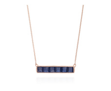 Rose Gold Vermeil Baja Precious Necklace - Blue Sapphire - Monica Vinader