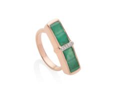 Rose Gold Vermeil Baja Precious Ring - Emerald & Diamond - Monica Vinader