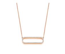 Rose Gold Vermeil Diva Rectangle Open Necklace - Diamond