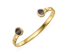 Gold Vermeil Atlantis Thin Cuff - Line Onyx
