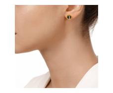 Gold Vermeil Atlantis Gem Mini Stud Earrings - Line Onyx