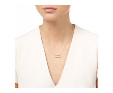 Gold Vermeil Diva Rectangle Open Necklace - Diamond
