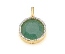Gold Vermeil Diva Circle Pendant - Green Aventurine and Diamonds