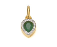 Gold Vermeil Diva Mini Lotus Pendant - Green Aventurine and Diamonds