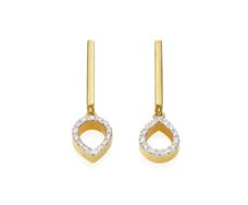 Gold Vermeil Diva Mini Lotus Open Drop Earrings - Diamond