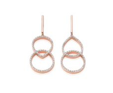 Rose Gold Vermeil Diva Kiss Open Cocktail Earrings - Diamond Front