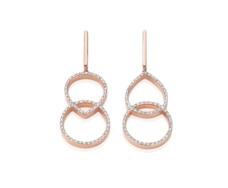 Rose Gold Vermeil Diva Kiss Open Cocktail Earrings - Diamond Front
