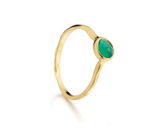 Gold Vermeil Siren Small Stacking Ring - Green Onyx - Monica Vinader