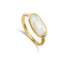 Gold Vermeil Vega Ring - Moonstone - Monica Vinader