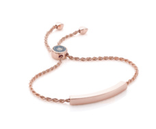 Rose Gold Vermeil Linear Evil Eye Toggle Bracelet - Blue & White Diamonds