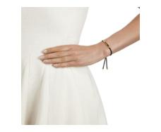 Gold Vermeil Linear Friendship Bracelet - Black Cord model