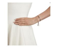 Rose Gold Vermeil Linear Friendship Bracelet - Mink Cord model