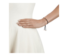Rose Gold Vermeil Linear Friendship Bracelet - Black Cord model