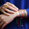 Rose Gold Vermeil Linear Friendship Bracelet - Navy Metallica - Monica Vinader