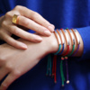Gold Vermeil Linear Friendship Bracelet - Purple Metallica - Monica Vinader