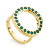 Gold Vermeil Pop Circle Ring - Green Onyx - Monica Vinader