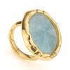 Gold Vermeil Siren Cocktail Round Ring - Aquamarine